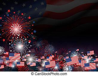 feux artifice, jour, autre, conception, 4, fond, juillet, crépuscule, ou, indépendance, célébration