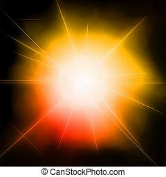 feux artifice, légère concentration, flare., lentille, vecteur