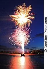 feux artifice, lancement, bateau