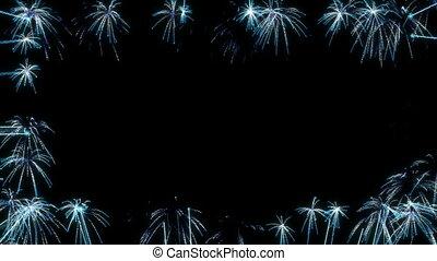 feux artifice, noir, loopable, cadre, bleu, sur