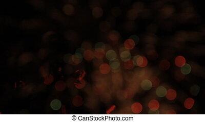 feux artifice, rouge vert, nuit