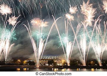feux artifice, sur, les, remblai, de, les, moskva, rivière,...