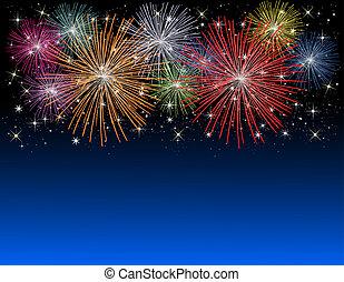 feux artifice, sur, nouvelles années veille