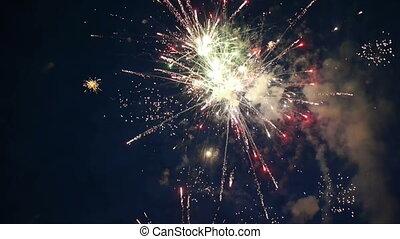 feux artifice, vacances, coloré, nuit