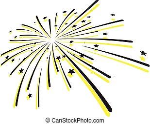 feux artifice, vecteur, -, éclater