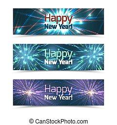 feux artifice, vecteur, nouvel an, ensemble, bannières, heureux