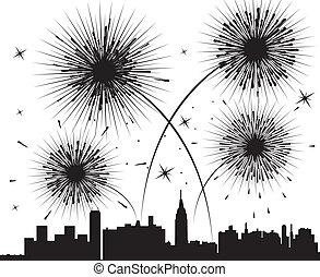 feux artifice, ville, sur