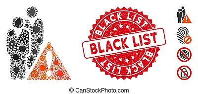 Fever Collage Black List Icon with Textured Round Black List Stamp