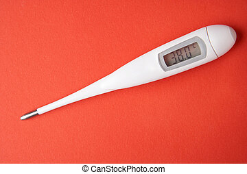 Fever - Fieber - white thermometer on red background -...