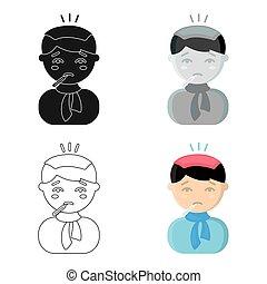 Fever icon cartoon. Single sick icon from the big ill, disease cartoon.