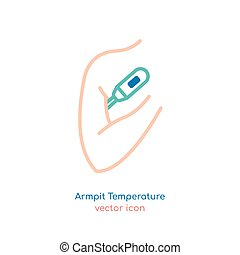 Fever Icon Image - Measuring man armpit temperature. The ...