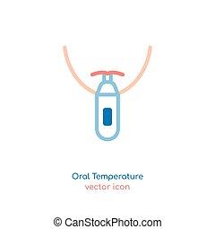 Fever Icon Image - Measuring oral temperature. The ...