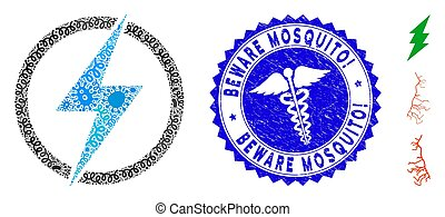 Fever Mosaic Electric Power Icon with Caduceus Textured Beware Mosquito! Seal