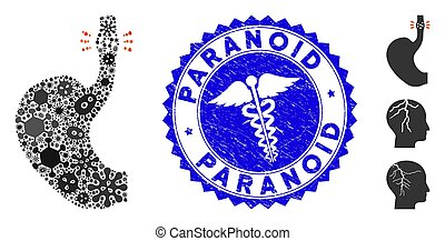 Fever Mosaic Esophageal Cancer Icon with Clinic Distress Paranoid Stamp