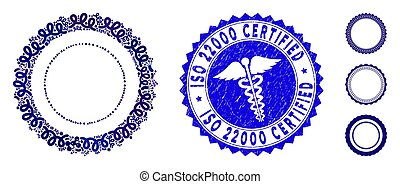 Fever Mosaic Rosette Seal Frame Icon with Clinic Grunge ISO 22000 Certified Stamp