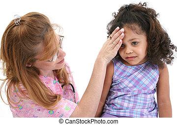 Fever - Nurse feeling sick young girl's forehead.