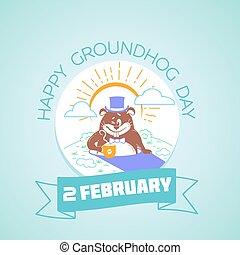 fevereiro, 2, calendário, groundhog, dia, feliz