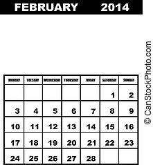 fevereiro, calendário, 2014, isolado