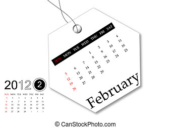 fevereiro, de, 2012, calendário