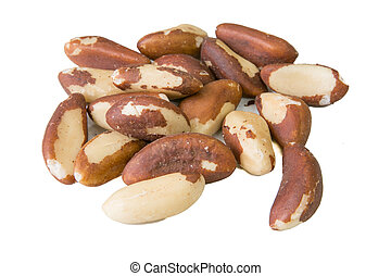 Brasil nuts - Few Brasil nuts on the white background
