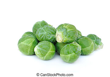 brussels sprouts - few brussels sprouts on white background