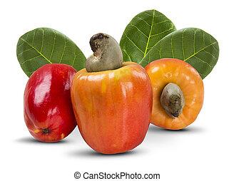 few cashew over a white background. Fresh fruit