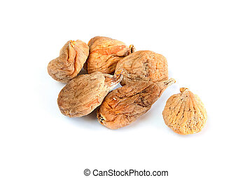 Few dry figs on white background