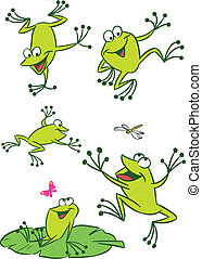 few frogs - The illustration shows of some cartoon frogs in...