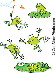 The illustration shows of some cartoon frogs in various poses, as well as insects and water lilies. Funny frog on a white background, are on separate layers.