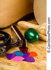 Few guitar picks and various musical instruments - Vertical...