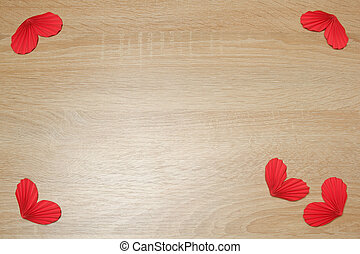 Few handmade red accordion folded paper hearts on light oak wood background copy space. Love, Valentine's, mother's, women's day, relations, wedding, romantic template copy space