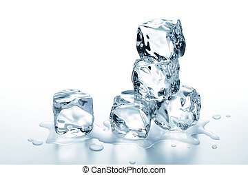 ice cubes - few ice cubes stack on glass table