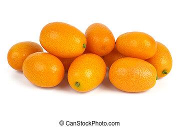 Few kumquats isolated on the white background