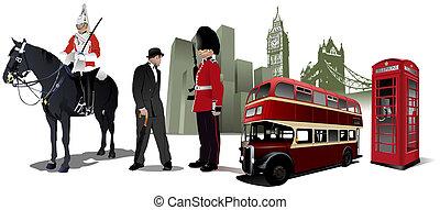Few London images on city background.