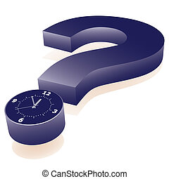 few minutes to deadline - Clock as point of question mark. ...