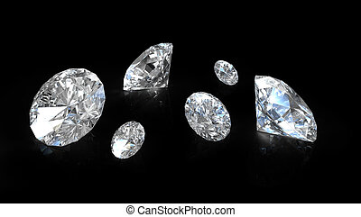 Few old european round cut diamonds, on black background