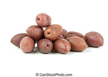 """Few purple """"Kalamata"""" olives isolated on the white background"""