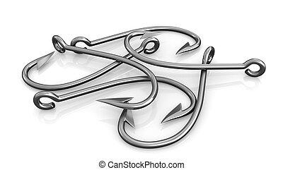 Few steel fishing hooks isolated on white background