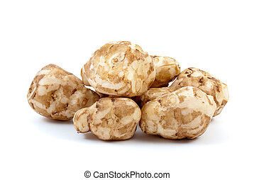 Few topinambours isolated on the white background