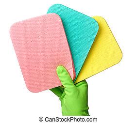 Few washing sponges in hand