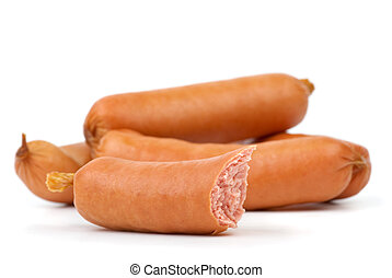 Few whole and one half-eaten sausages isolated on the white background