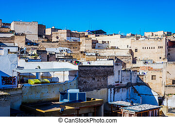Fez city, Morocco - View over Fez old town in daylight,...