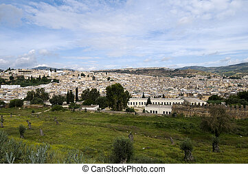 Fez Cityscape - Panoramic view of the imperial city Fez -...