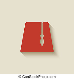fez, diseño, rojo, elemento