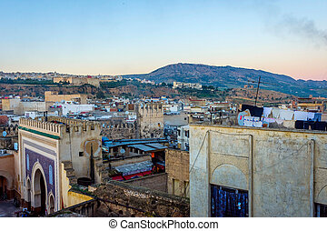 Fez in twilight, Morocco - Fez city medina old town skyline...
