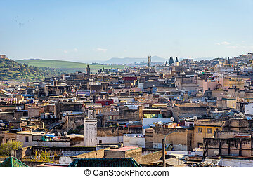 Fez, Morocco - View over Fez skyline, known as yellow city,...