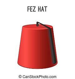 fez, sombrero, nacional, headwear, de, gente, vector,...