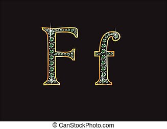 Ff in Emerald Jeweled Font