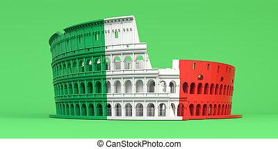 ffag, 緑, バックグラウンド。, ∥あるいは∥, 色, colosseum, ローマ, シンボル, イタリア語, italy., コロシアム
