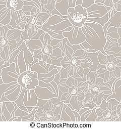Ffloral seamless pattern with contour of flowers Daffodils